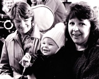 Audrey White and Glenda Jackson with baby