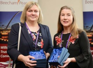 Karen McArthur and Deborah Bell at awards ceremony